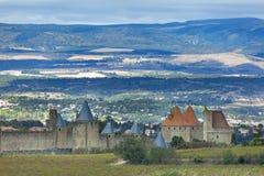 Πόλης τοίχοι του Carcassonne, Γαλλία Στοκ εικόνα με δικαίωμα ελεύθερης χρήσης