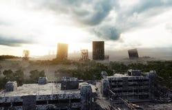 Πόλη αποκάλυψης στην ομίχλη Εναέρια άποψη της πόλης Έννοια αποκάλυψης τρισδιάστατη απόδοση διανυσματική απεικόνιση