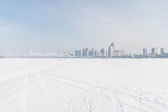 Πόλη από τη μέση του παγετώνα Στοκ φωτογραφίες με δικαίωμα ελεύθερης χρήσης