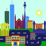 Πόλη Επίπεδο σχέδιο διανυσματική απεικόνιση
