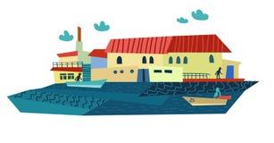 Πόλη θερινής θάλασσας επίσης corel σύρετε το διάνυσμα απεικόνισης Στοκ Εικόνα
