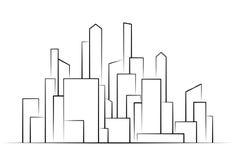 Πόλη, διάνυσμα σκιαγραφιών κτηρίων διανυσματική απεικόνιση
