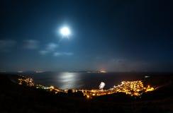 Πόλη διακοπών παραλιών τη νύχτα Στοκ φωτογραφία με δικαίωμα ελεύθερης χρήσης