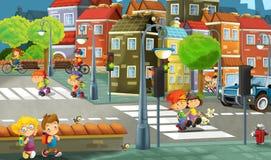 Πόλη κινούμενων σχεδίων - απεικόνιση για τα παιδιά Στοκ εικόνα με δικαίωμα ελεύθερης χρήσης