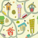 πόλη κινούμενων σχεδίων πρότυπο άνευ ραφής Στοκ εικόνες με δικαίωμα ελεύθερης χρήσης