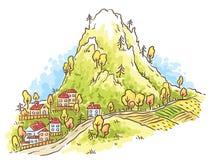 Πόλη κινούμενων σχεδίων στο πόδι του βουνού Στοκ εικόνα με δικαίωμα ελεύθερης χρήσης