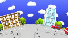 πόλη κινούμενων σχεδίων απόθεμα βίντεο