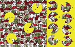 Πόλη: Κομμάτια αντιστοιχιών, οπτικό παιχνίδι Λύση στο κρυμμένο στρώμα! Στοκ Εικόνα