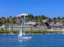 Πόλη Λουκέρνης στην Ελβετία στην άνοιξη Στοκ Φωτογραφία