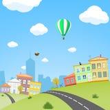 Πόλη με τα σπίτια και τις οδούς landscape urban Διανυσματικό κάρρο αποθεμάτων Στοκ εικόνα με δικαίωμα ελεύθερης χρήσης