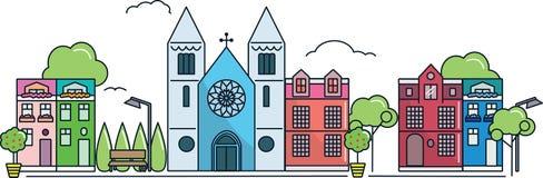 Πόλη με τη μεγάλη εκκλησία Στοκ Φωτογραφία