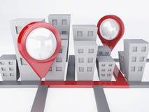 Πόλη με τους δείκτες χαρτών έννοια ΠΣΤ Στοκ Εικόνες