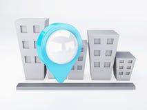 Πόλη με τους δείκτες χαρτών έννοια ΠΣΤ Στοκ εικόνα με δικαίωμα ελεύθερης χρήσης