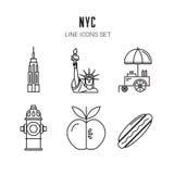 πόλη Νέα Υόρκη Εικονίδια γραμμών καθορισμένα διάνυσμα Στοκ Εικόνες