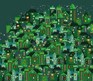 Πόλη νύχτας με τα σπίτια κινούμενων σχεδίων Στοκ Εικόνες