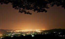 Πόλη νύχτας που βλέπει από το δάσος Στοκ εικόνα με δικαίωμα ελεύθερης χρήσης