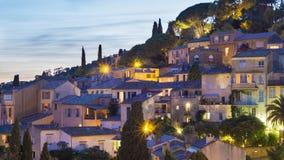 Πόλη νύχτας bormes-les-Mimosas Στοκ φωτογραφίες με δικαίωμα ελεύθερης χρήσης