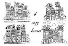 Πόλη λουλουδιών σχεδίων, σύνολο απεικονίσεων με τα αστεία σπίτια φαντασίας, συρμένη χέρι απεικόνιση σκίτσων doodle ελεύθερη απεικόνιση δικαιώματος