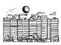 Πόλη παραμυθιού στο άσπρο υπόβαθρο Στοκ Εικόνες