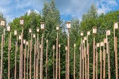 Πόλη πολυόροφων κτιρίων να τοποθετηθεί πουλιών των κιβωτίων Στοκ φωτογραφία με δικαίωμα ελεύθερης χρήσης