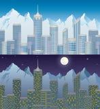Πόλη στο βουνό μέρα και νύχτα ελεύθερη απεικόνιση δικαιώματος