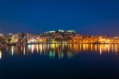 Πόλη της Καβάλας τη νύχτα Στοκ Εικόνα