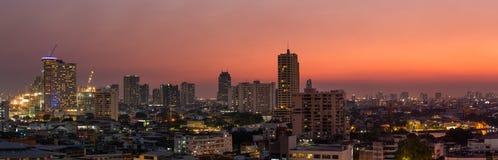 Πόλη της Μπανγκόκ πανοράματος στο ηλιοβασίλεμα στοκ εικόνες