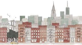 Πόλη της Νέας Υόρκης - άνευ ραφής έμβλημα του ορίζοντα της Νέας Υόρκης Στοκ Εικόνα