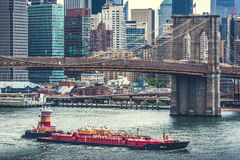 Πόλη της Νέας Υόρκης, γέφυρα του Μπρούκλιν Στοκ Εικόνα