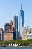Πόλη της Νέας Υόρκης στους ουρανοξύστες του Λόουερ Μανχάταν και ένα World Trade Center Στοκ εικόνες με δικαίωμα ελεύθερης χρήσης