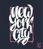 Πόλη της Νέας Υόρκης, σχέδιο εγγραφής Γραπτή χέρι φράση Στοκ εικόνα με δικαίωμα ελεύθερης χρήσης