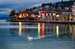 Πόλη της Οχρίδας στην ακτή της λίμνης Οχρίδα Στοκ Φωτογραφίες