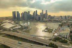 Πόλη της Σιγκαπούρης στο χρόνο ηλιοβασιλέματος Στοκ εικόνα με δικαίωμα ελεύθερης χρήσης
