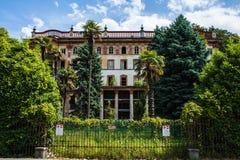 Πόλη του Μπελάτζιο στη λίμνη Como, Ιταλία Περιοχή της Λομβαρδίας Ιταλική εικονική παράσταση πόλης, ευρωπαϊκό arhitecture Στοκ Εικόνα