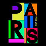 Πόλη του Παρισιού, γραφική παράσταση τυπογραφίας μπλουζών, διάνυσμα Στοκ Εικόνες