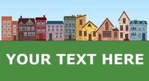 Πόλη των παλαιών σπιτιών Απεικόνιση με τα σπίτια σε μια σειρά τοποθετήστε το κείμενο Η παλαιά πόλη μέχρι την ημέρα Στοκ φωτογραφία με δικαίωμα ελεύθερης χρήσης