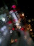 Πόλη, φω'τα βροχής Στοκ Φωτογραφίες