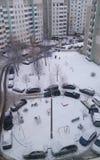 Πόλη χιονιού άνωθεν Στοκ Φωτογραφίες