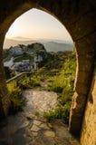 Πόλη Caltabellotta βουνών (Σικελία, Ιταλία) το πρωί Στοκ Φωτογραφία