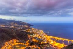 Πόλη Captial νύχτας του Cruz Santa του Λα Palma Στοκ Εικόνες