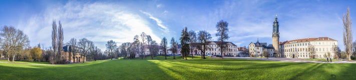 Πόλη Castle με το πάρκο Ilm και παλαιό κάστρο Weimar Στοκ Εικόνες