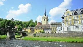 Πόλη Gera, Γερμανία. εκκλησία και γέφυρα στην περιοχή Untermhaus απόθεμα βίντεο