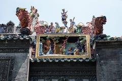 Πόλη Guangzhou, διάσημα τουριστικά αξιοθέατα της Κίνας, προγονική διακόσμηση τέχνης στεγών αιθουσών Chen Στοκ Εικόνες