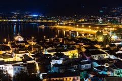 Πόλη Nafplio τη νύχτα στοκ εικόνα