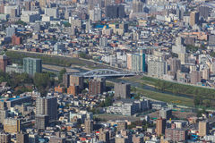 Πόλη Sapporo, άποψη από το υποστήριγμα Moiwa στοκ εικόνα