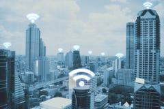 Πόλη scape και κοινωνική τεχνολογία σύνδεσης δικτύων Στοκ Εικόνες