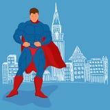 Πόλη Superhero και σκίτσων, διανυσματική απεικόνιση ελεύθερη απεικόνιση δικαιώματος