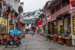 Πόλη Tunxi Huangshan, Κίνα - το Σεπτέμβριο του 2015 circa: Οδοί πόλεων και καταστήματα της παλαιάς κωμόπολης Huangshan στην Κίνα  Στοκ Φωτογραφία