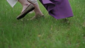 Πόδια γυναικών που οργανώνονται μέσω του πάρκου υπαίθριου απόθεμα βίντεο