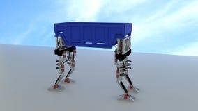 Πόδια ρομπότ που φέρνουν το εμπορευματοκιβώτιο διανυσματική απεικόνιση